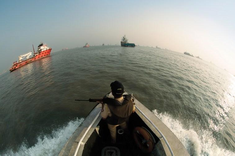 Police Patrol boat securing coastal line