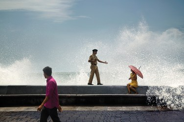 Safety alertness during high tide at Marine Drive