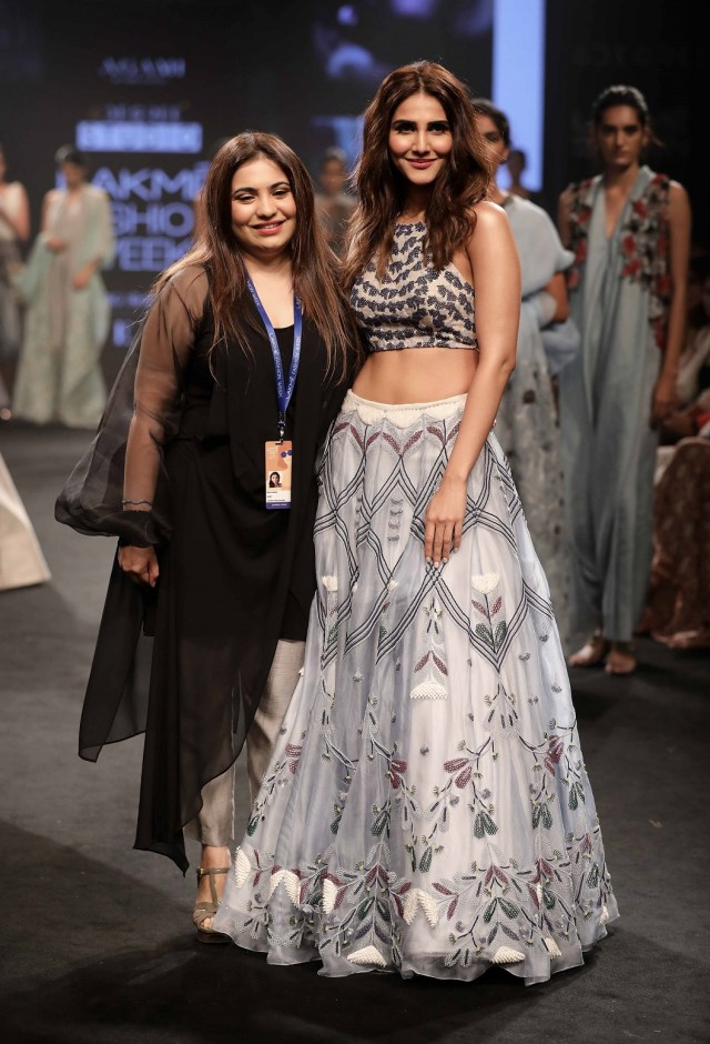 Neha Agarwal with showstopper Vaani Kapoor for the collection Lost in the woods under the label Agami at Lakme Fashion Week Summer Resort 2018
