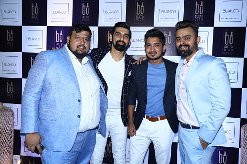 left - Aniket Patil - Chef of Blanco, with the owner and founders of Blanco - Kushal Sankhe, Kedar Shetty and Jatin Mansata