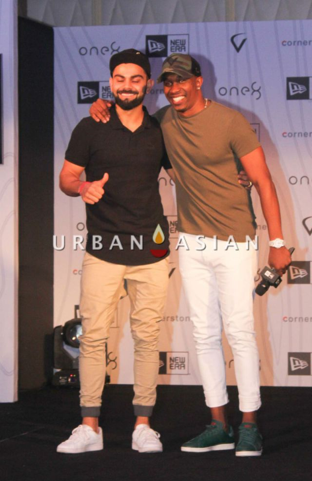 Virat Kohli and Dwayne Bravo at Virat's headgear collection launch