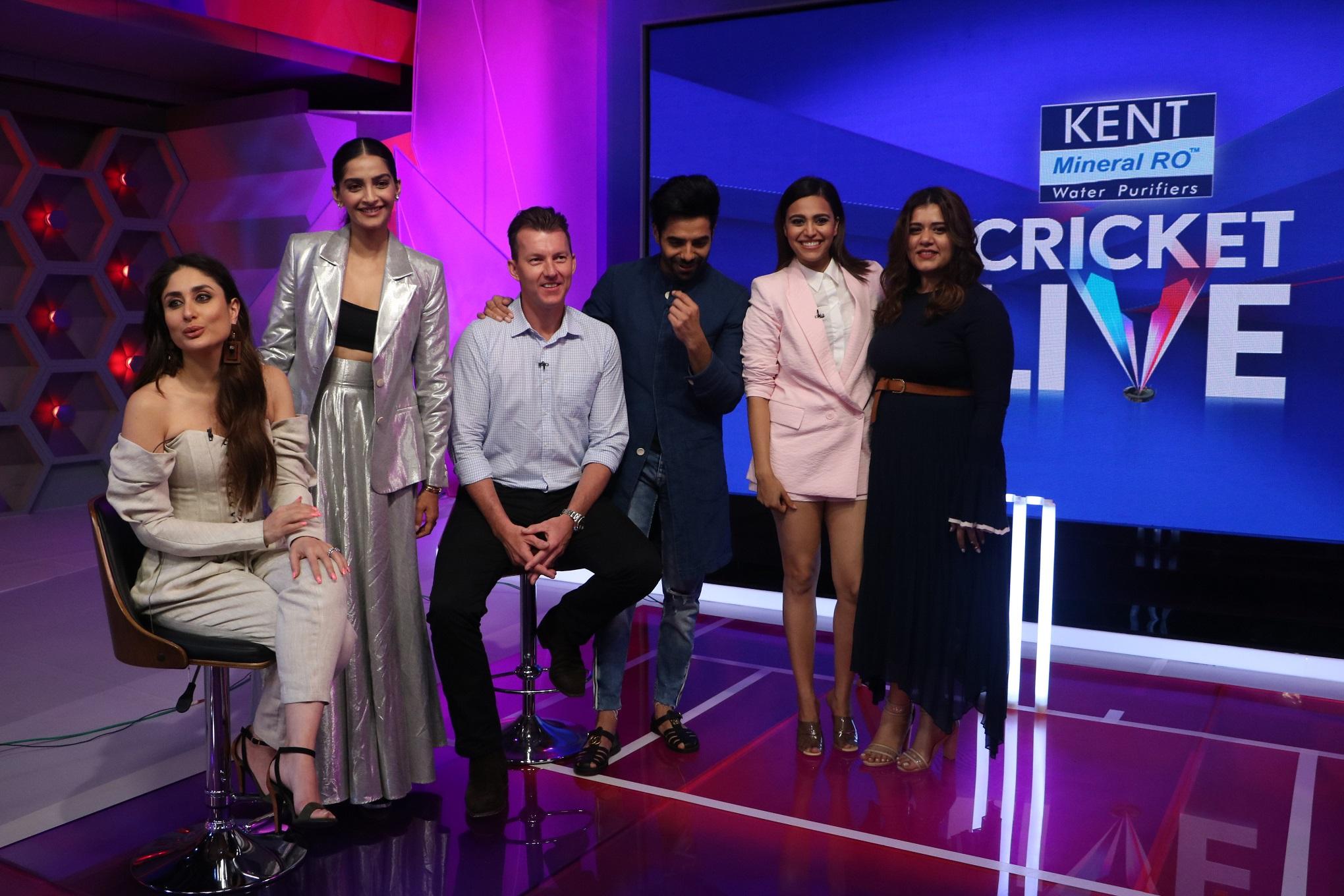 Kareena Kapoor Khan, Sonam Kapoor, Brett Lee, Aparshakti Khurana, Swara Bhaskar and Shikha Talsania at Kent Cricket Live on Star Sports Network 1