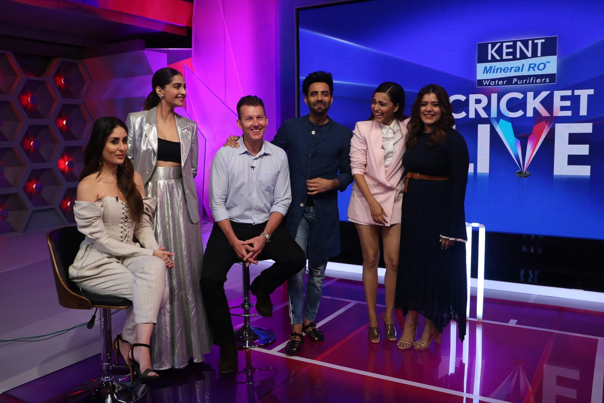 Kareena Kapoor Khan, Sonam Kapoor, Brett Lee, Aparshakti Khurana, Swara Bhaskar and Shikha Talsania at Kent Cricket Live on Star Sports Network