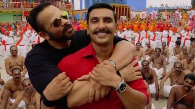 Ranveer Singh and Rohit Shetty on the sets of Simmba