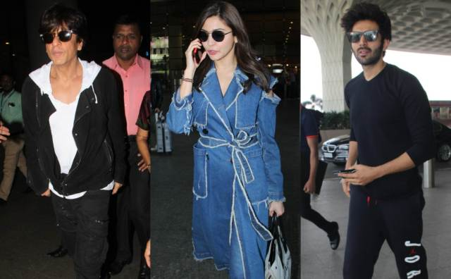 Shah Rukh Khan, Anushka Sharma and Kartik Aaryan at the airport