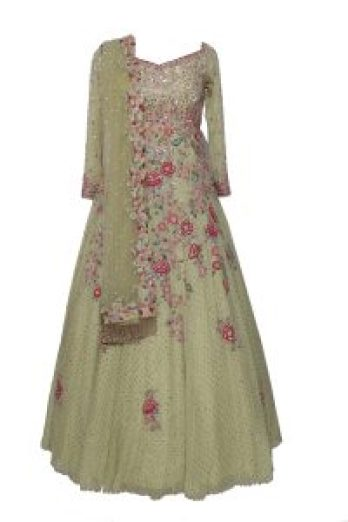 Dolly J - Green Anarkali with Embroidery