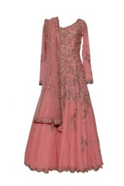 Dolly J - Peach Anarkali with Gold Sequin Embroidery