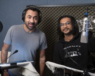 "MIRA, ROYAL DETECTIVE - Kal Penn and Utkarsh Ambudkar record the roles of mongooses Mikku and Chikku, respectively, for Disney Junior's upcoming animated series ""Mira, Royal Detective."" (Disney Junior/Lorenzo Bevilaqua)"