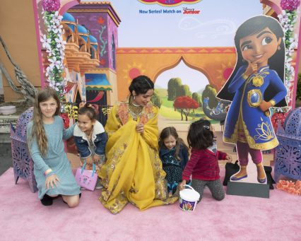 """MIRA, ROYAL DETECTIVE - Disney Junior hosted the world premiere of upcoming animated series """"Mira, Royal Detective"""" at The Walt Disney Studios in Burbank, CA on Saturday, March 7. Cast members including Freida Pinto, Utkarsh Ambudkar and Leela Ladnier were joined by special guests and their families. Debuting March 20, 2020 in the U.S. and India, the series is set in the magical Indian-inspired land of Jalpur and follows the brave and resourceful Mira, a young girl who is appointed to the role of royal detective by the Queen. (Disney Junior/Image Group LA) FREIDA PINTO"""