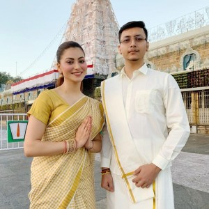 Urvashi Rautela offer prayers at Tirupati Balaji temple Tirumala with the entire Rautela family