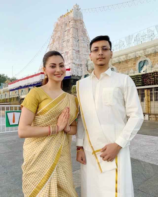 Urvashi Rautela offer prayers at Tirupati Balaji temple Tirumala with the entire Rautela family