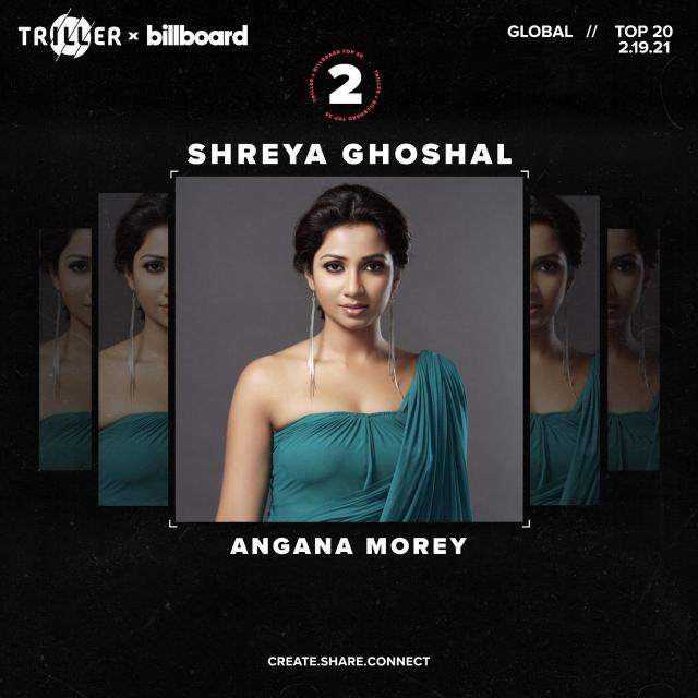 Shreya Ghoshal's Angana Morey on Number 2 at Billboard's  Global Chart