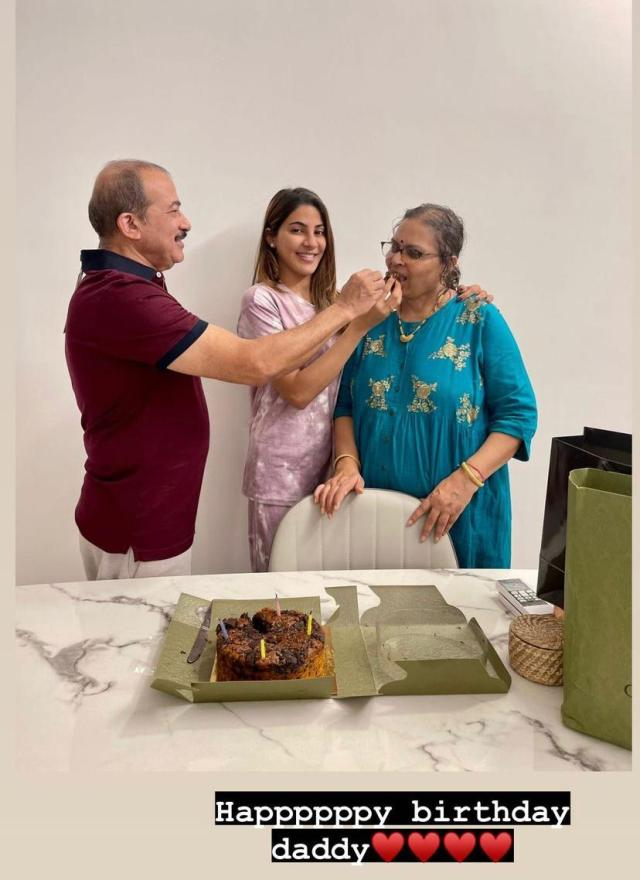 Nikki Tamboli celebrates daddy dearest's birthday, shares adorable pictures cutting the cake