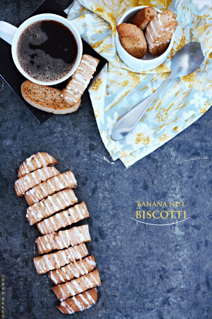 Banana-Nut Biscotti with Banana flavored glaze | urbanbakes.com #biscotti #banana