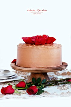 Valentine Rose Cake with Whipped Chocolate Cream Frosting | URBAN BAKES