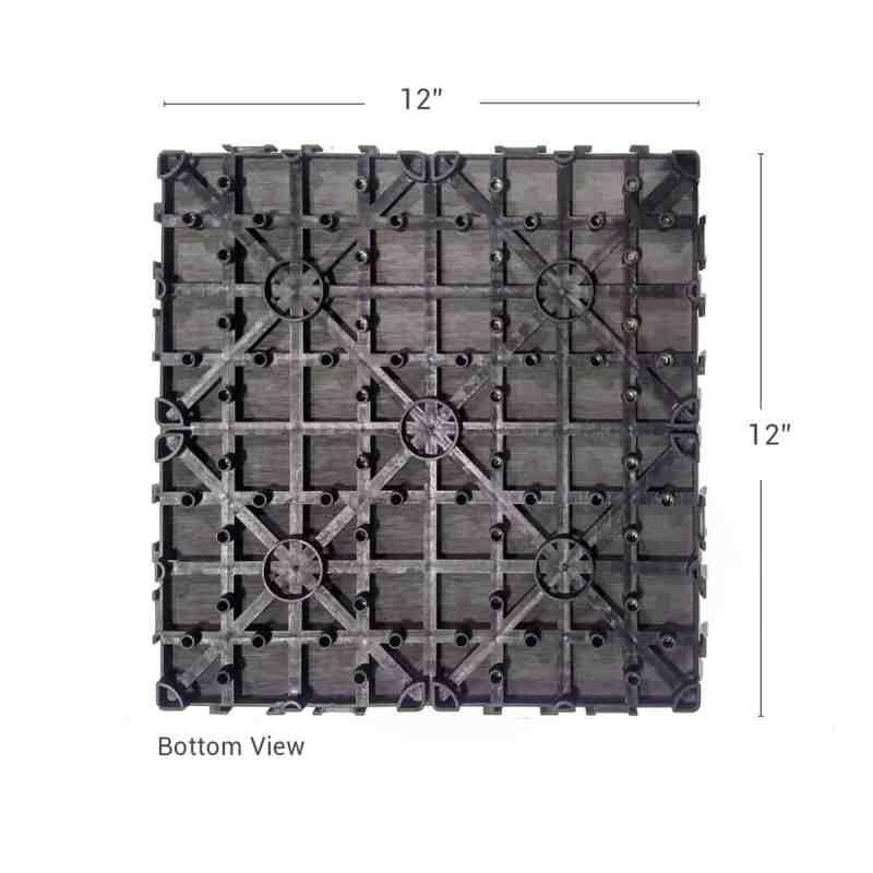 Charcoal Dura composite back shot showing deck tile dimensions