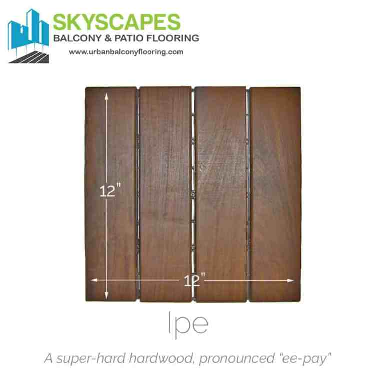 Real wood heavy-duty tile with four slats. Face-on view. Beautiful appearance with dark wood grains on dark brown Ipe wood. Photograph. Outdoor Floors' white logo at bottom of image.