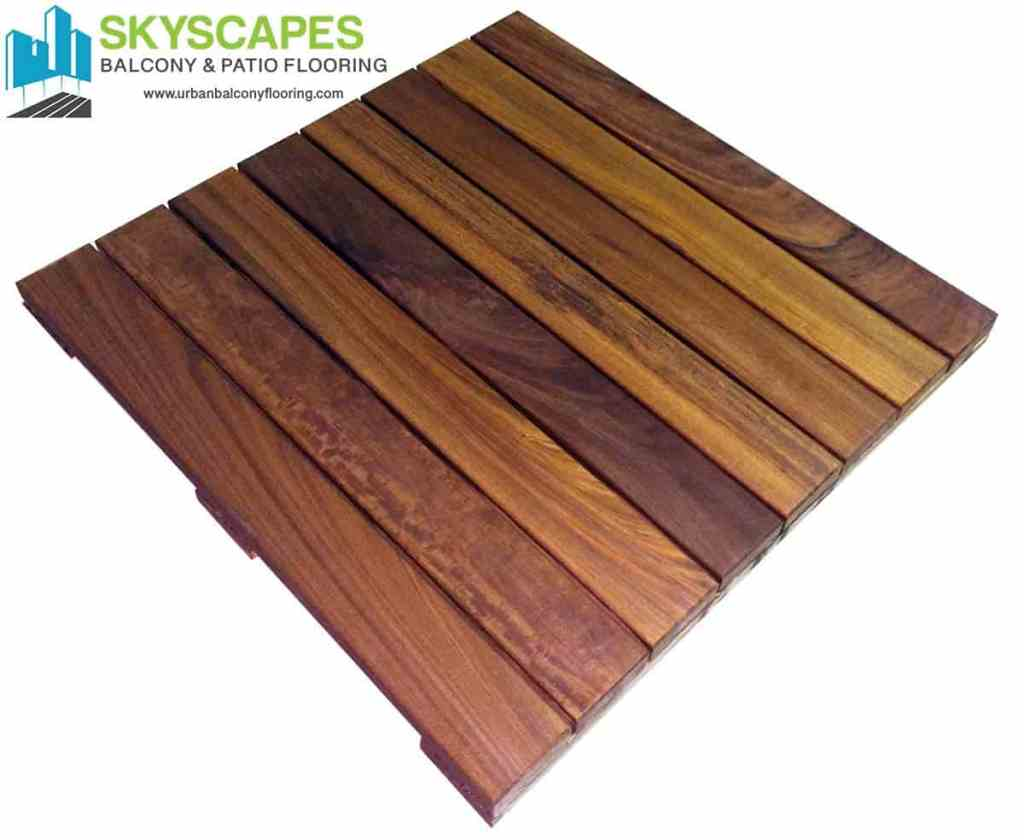 2 by 2-foot by 1 and 3/4-inch, 8-slat interlocking real Ipe wood, structural deck tile (Brazilian Walnut) by Skyscapes Urban Balcony Flooring