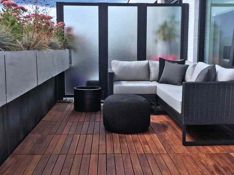 Furnished balcony with Ipe Hardwood Structural Deck Tile Flooring