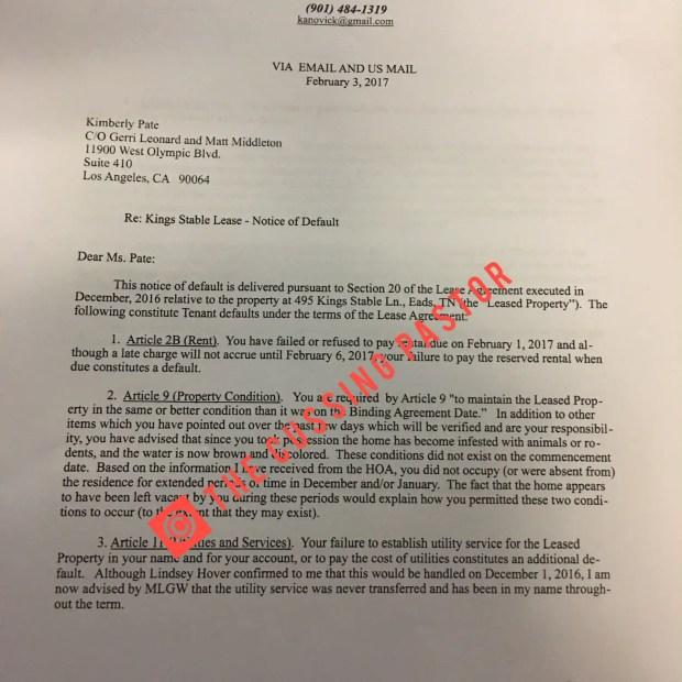 K Michelle Default letter 1