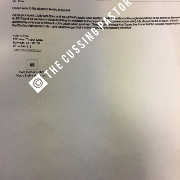 K Michelle Default letter