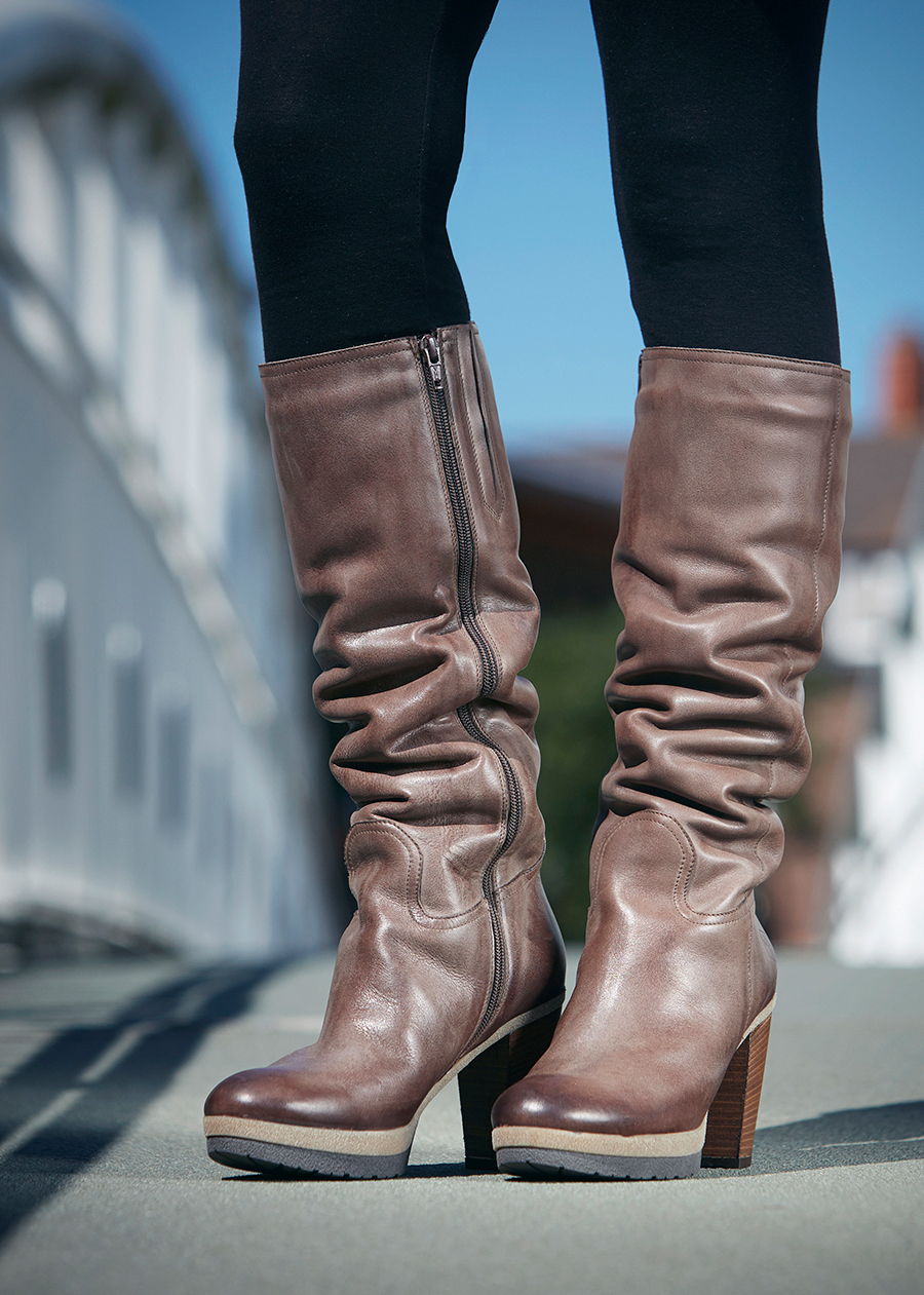 Leather Knee High Boots | Brown Leather