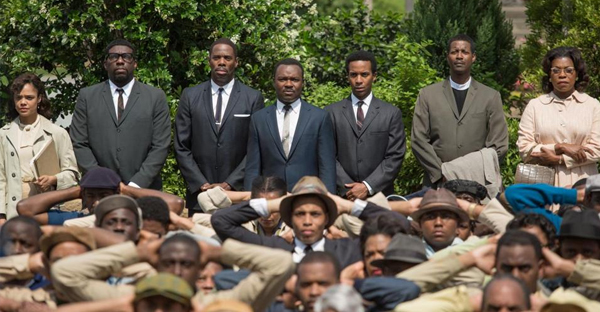 "David Oyelowo (back row, center) stars as Martin Luther King Jr. in Ava DuVernay's ""Selma."" (ATSUSHI NISHIJIMA)"