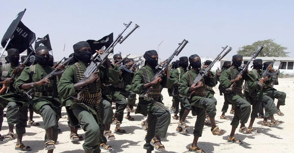 Hundreds of newly trained Al Shabab fighters perform military exercises south of Mogadishu in this 2011 file photo. (Farah Abdi Warsameh/AP/File)