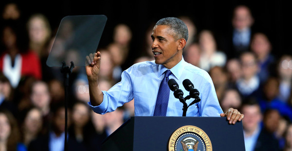 U.S. President Barack Obama speaks at the University Of Kansas at the Anschutz Pavillion on January 22, 2015 in Lawrence, Kansas. (Jamie Squire/Getty Images North America)