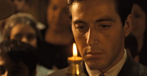 Al Pacino in The Godfather's famous baptism scene. ''Do you renounce Satan?' asks the priest. 'I do renounce him,' replies Michael. It is a perfect rendition of the moral/existential drama of baptism.'