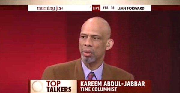 """Former NBA star Kareem Abdul-Jabbar said Monday that the Islamic State group represents Islam about as much as the Ku Klu Klan represents Christianity, arguing that the mission of both groups is not about religion but """"a play for money and power."""" (MSNBC via Breitbart)"""