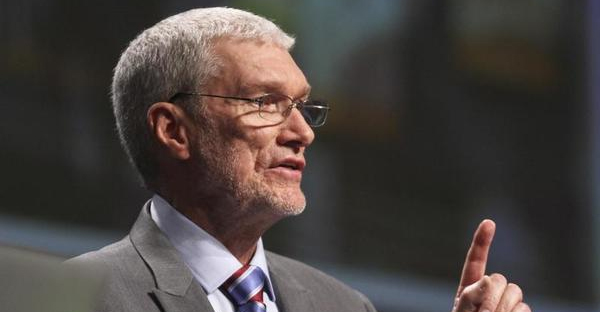 """Creation Museum head Ken Ham speaks during a debate on evolution with TV's """"Science Guy"""" Bill Nye, not shown, at the Creation Museum Tuesday, Feb. 4, 2014, in Petersburg, Ky. (AP Photo/The Courier-Journal, Matt Stone)"""
