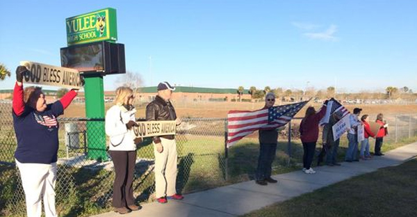 Some parents are upset about a decision to ban 'God Bless America' during morning announcements at Yulee High School. (Lisa Robbins, First Coast News)