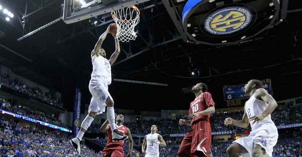 Willie Cauley-Stein #15 of the Kentucky Wildcats goes up for a shot against the Arkansas Razorbacks in the championship game of the SEC Basketball Tournament at Bridgestone Arena on March 15, 2015 in Nashville, Tennessee. (Andy Lyons/Getty Images North America)