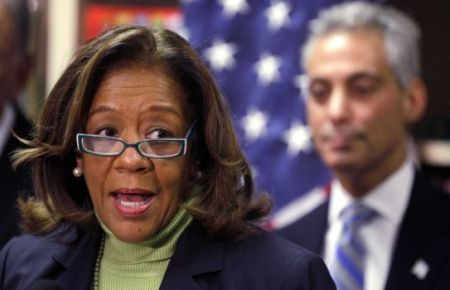 In this Oct. 12, 2012 file photo, newly appointed Chicago Public Schools CEO Barbara Byrd-Bennett speaks at a news conference in Chicago. (M. Spencer Green/AP)