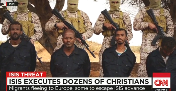 A 30-minute propaganda video released by ISIS on Sunday shows 30 Ethiopian Christians being executed by the terrorist group. (Screen capture from CNN.com)