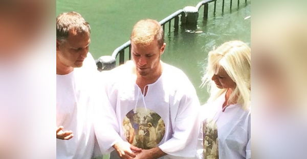 Brian Littrell of the Backstreet Boys and his wife Leighanne got baptized at the Jordan River. (Facebook/Brian Littrell)