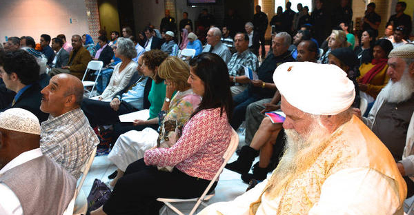 A portion of the audience at the King Fahad Mosque in Culver City, California, on April 19 for a program on the Jewish celebration of Passover. Moses, central to the Passover story, is honored in both Judaism and Islam. (King Fahad Mosque)