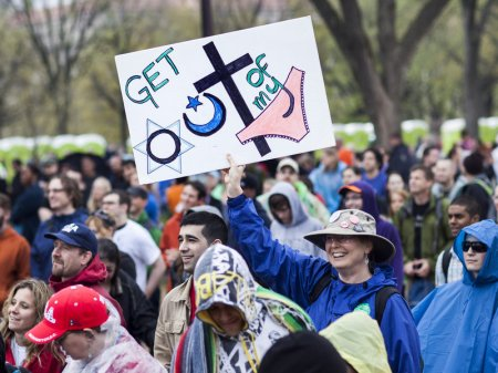 People gather for the Reason Rally on the National Mall in 2012 in Washington, D.C. BRENDAN SMIALOWSKI/AFP/Getty Images