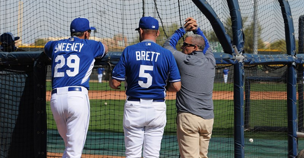 Royals GM Dayton Moore (right) watches batting practice with VP of baseball operations George Brett and special assistant to baseball operations Mike Sweeney. (Kansas City Royals photo)