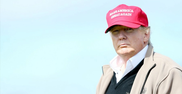 Presidential contender Donald Trump looks on at the 16th green July 30, the first day of the Women's British Open in Turnberry, Scotland. (Scott Heppell/AP)