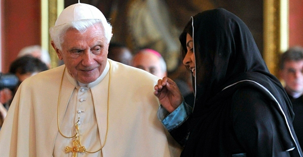 Pope Benedict XVI speaks with Baroness Warsi during a state visit to London in 2010. (Getty Images)