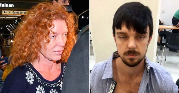 Tonya Couch, mother of Ethan Couch (right), is taken by authorities to a waiting car after arriving at Los Angeles International Airport on Dec. 31. (Photo: (Left) Getty Images, (right) Splash News)