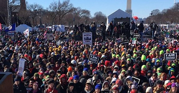 Pro-life supporters gather for last year's March for Life in Washington, D.C. The Ethics & Religious Liberty Commission and Focus on the Family have joined together to host Evangelicals for Life Jan. 21-22 in conjunction with the annual March for Life rally. (File photo)