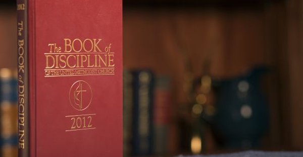 The 2012 edition of the Book of Discipline of The United Methodist Church. The book includes church policies and laws, including how to adjudicate church trials. (Photo by Mike DuBose, UMNS)