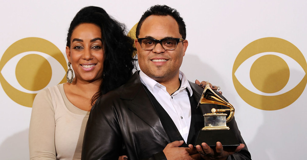 "Musician Israel Houghton (R), winner of the Best Gospel Performance award for ""You Hold My World"" and Meleasa Houghton pose in the press room at The 53rd Annual GRAMMY Awards held at Staples Center on February 13, 2011 in Los Angeles, California. (Kevork Djansezian/Getty Images North America)"