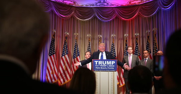 Donald J. Trump spoke at a news conference at the Mar-a-Lago club in Palm Beach, Fla., after racking up big victories on Tuesday. (Credit: Damon Winter/The New York Times)