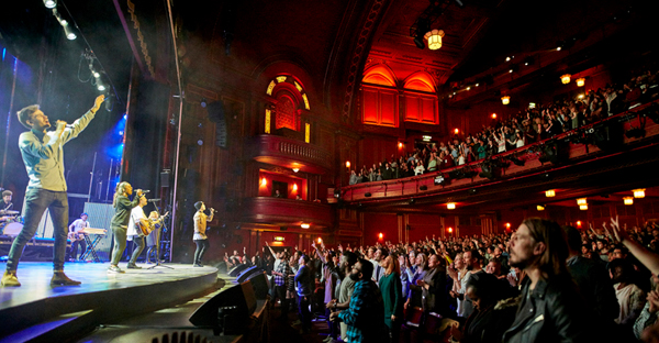 Hillsong Church London holds four services, attended by 8,000 people, every Sunday at the Dominion Theatre. (Photo courtesy of Hillsong Church London)