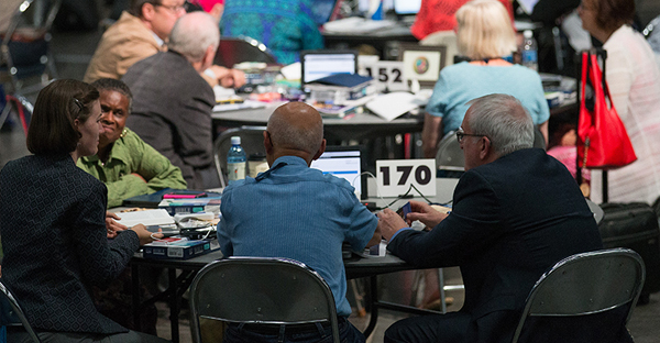 Delegates to the 2016 United Methodist General Conference in Portland, Ore., consider their hopes and dreams for the legislative meeting. (Photo by Mike DuBose, UMNS)