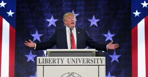 Donald Trump speaks at Liberty University in January. (Chip Somodevilla/Getty Images)